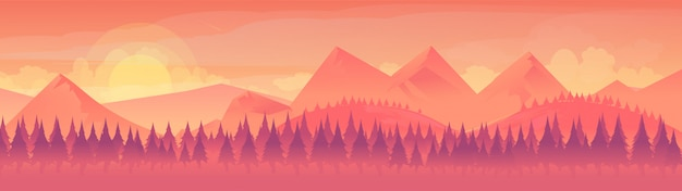 Vue de paysage de la chaîne de montagnes Vecteur Premium