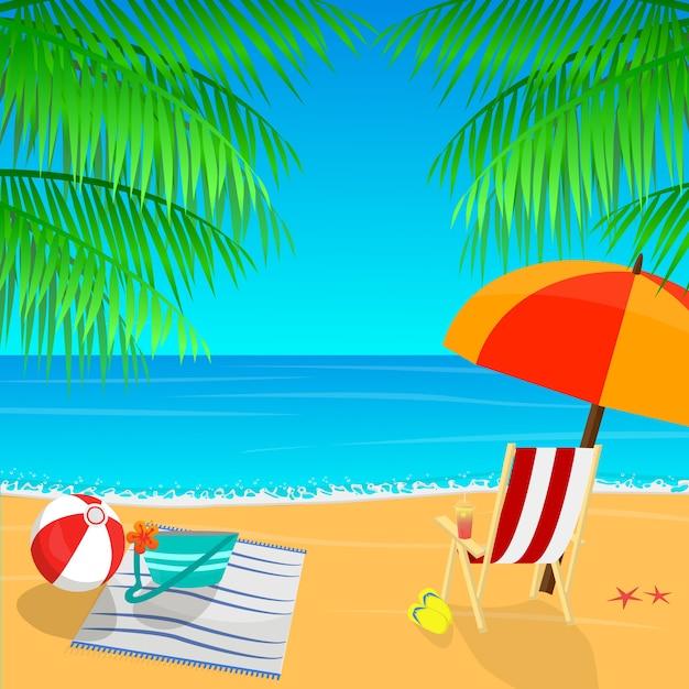 Vue Sur La Plage Avec Un Parasol, Des Feuilles De Palmier Et Des Chaussons Vecteur Premium