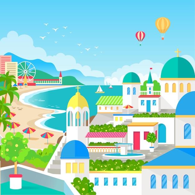 Vue spectaculaire de la ville de villégiature avec illustration de long beach Vecteur Premium