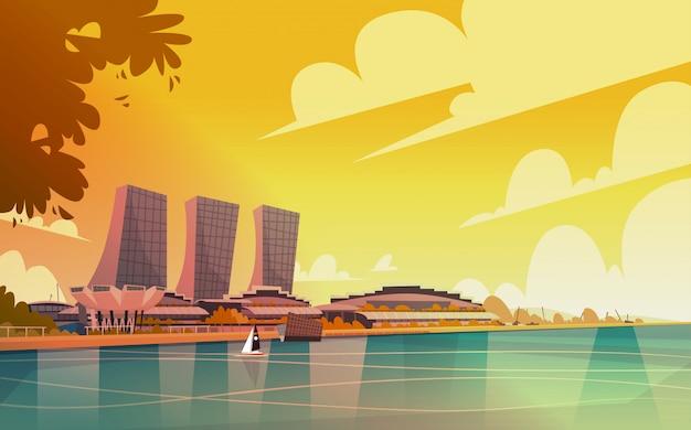 Vue sur la ville de singapour gratte-ciel fond skyline cityscape Vecteur Premium