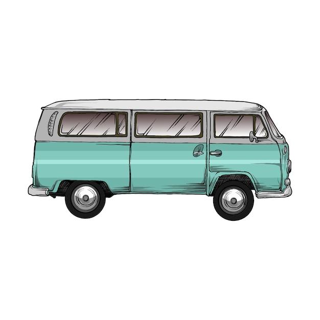 Vw kombi voiture à la main dessin Vecteur Premium