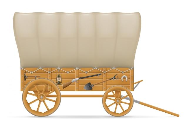 Wagon en bois de l'ouest sauvage avec une illustration d'auvent Vecteur Premium