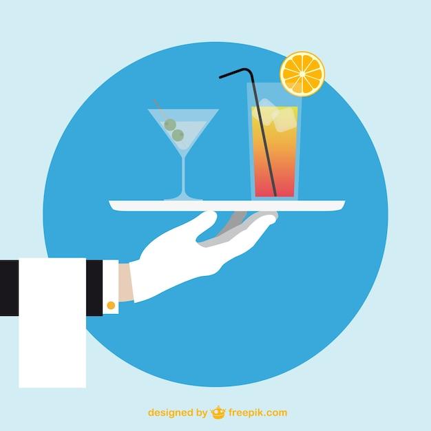 Waiter Main Avec Des Cocktails Vecteur gratuit
