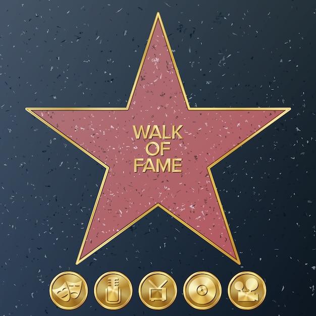 Walk Of Fame D'hollywood Vecteur Premium