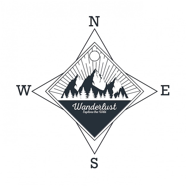 Wanderlust adventure logo Vecteur Premium