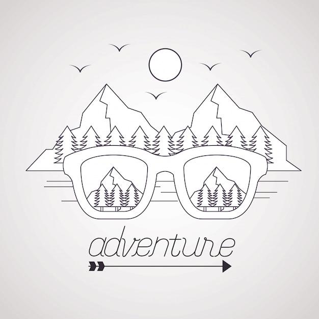 Wanderlust explore le paysage d'aventure Vecteur gratuit