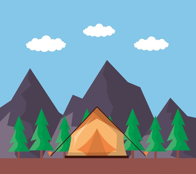 Wanderlust explore le paysage Vecteur gratuit