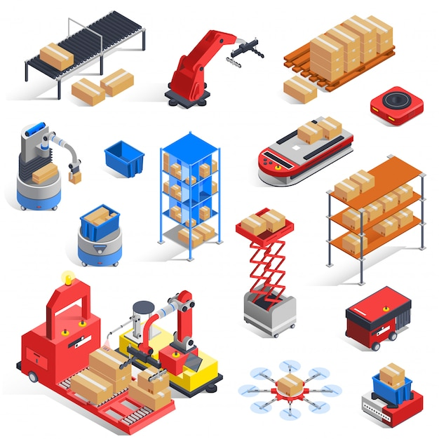 Warehouse Robots Icon Set Vecteur gratuit