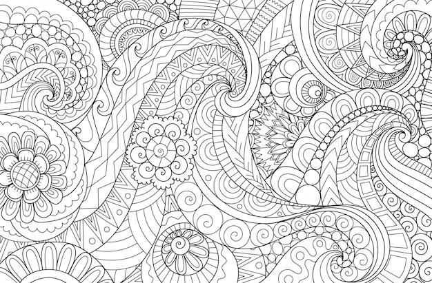 Waveabstract Ligne Art Flux Ondule Pour Le Fond Livre De Coloriage Pour Adultes Illustration De Page A Colorier Vecteur Premium