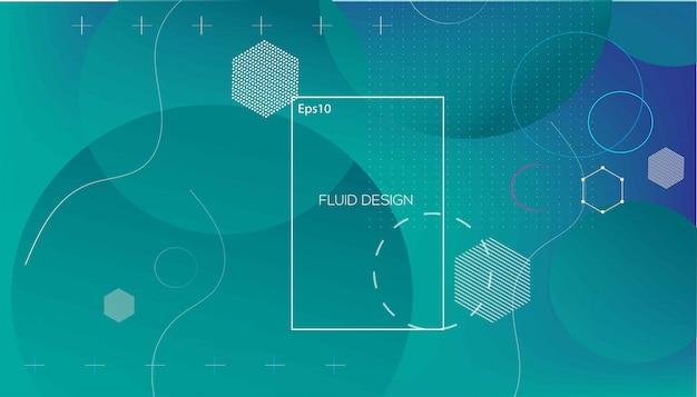 Wavy géométrique avec fond fluide Vecteur Premium