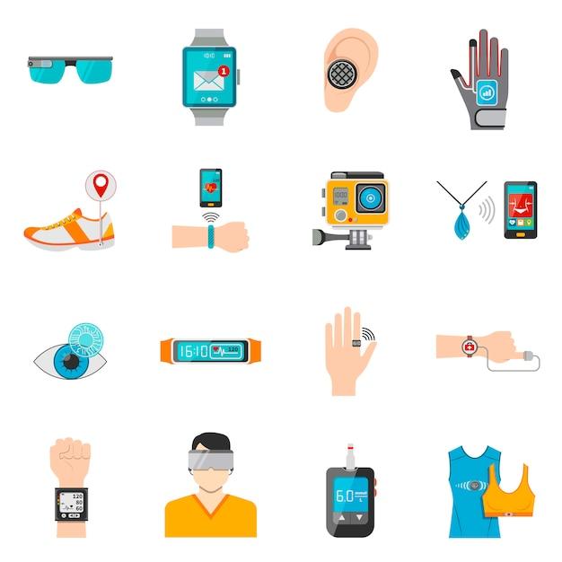 Wearable technology icons set Vecteur gratuit