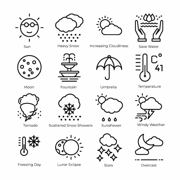 Weather line icons set Vecteur Premium