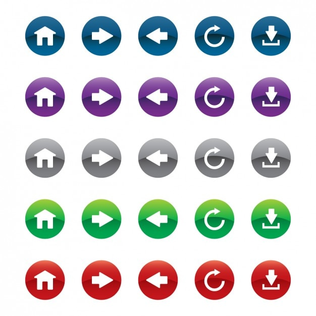 Web buttons fixés dans différentes couleurs Vecteur gratuit