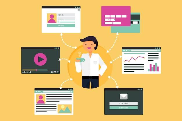 Web Life Of Businessman From Vidéo, Blog, Réseaux Sociaux, Achats En Ligne Et E-mail. Vecteur Premium