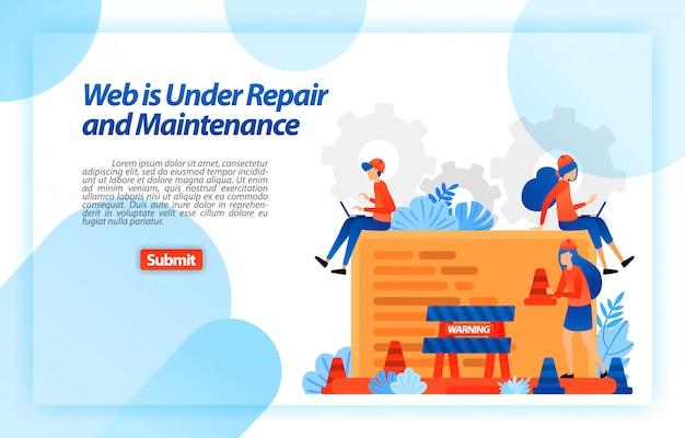 Web en réparation et maintenance. site en cours de réparation et programme d'amélioration pour une meilleure expérience. modèle web de page de destination Vecteur Premium