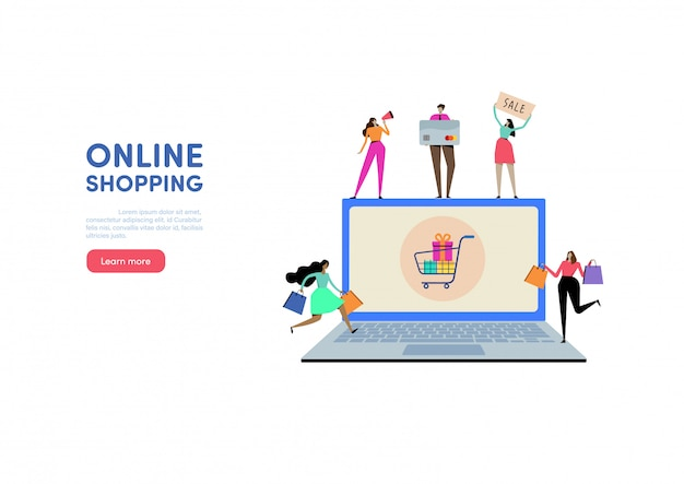 Web shopping en ligne Vecteur Premium