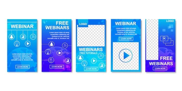 Webinaire gratuit, concept d'éducation à distance en ligne. Vecteur Premium