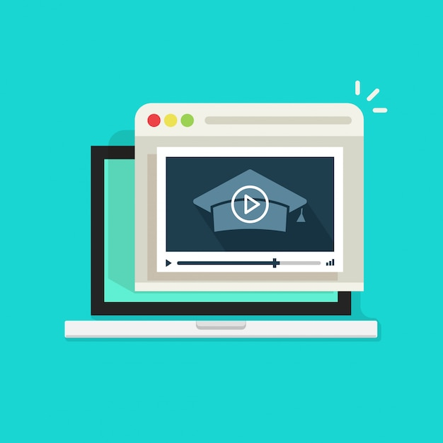 Webinaire En Ligne Sur Ordinateur Portable Avec Lecteur Vidéo Vecteur Premium