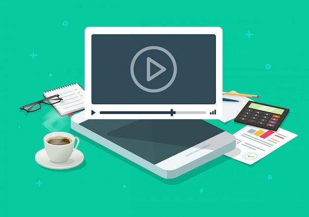 Webinaire Vidéo En Ligne Sur Téléphone Mobile Sur La Table De Bureau De Travail Ou La Conférence Appel Smartphone Concept Cartoon Plat Isométrique Vecteur Premium