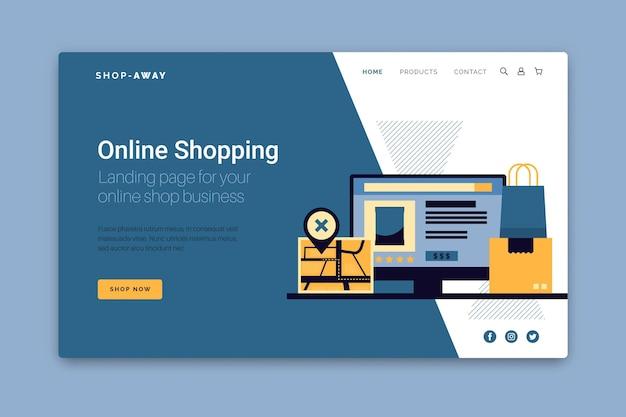 Webtemplate De Page De Destination D'achat En Ligne Vecteur gratuit