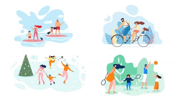 Week-end d'été sur la rivière toute la famille vector flat Vecteur Premium
