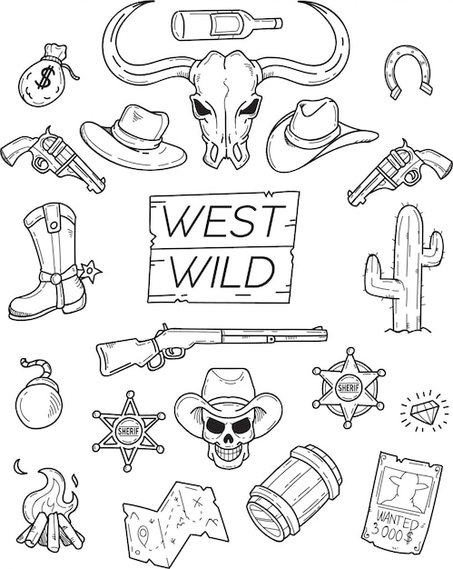 West wild doodle set pour la conception graphique Vecteur Premium