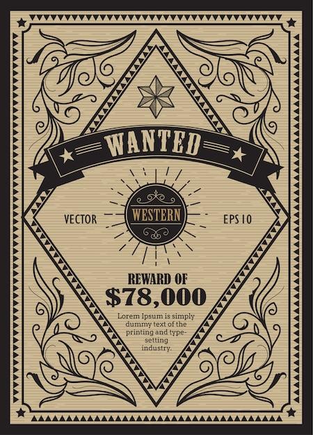 Western étiquette antique cadre vintage voulu rétro dessiné à la main Vecteur Premium