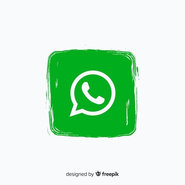 Whatsapp icône dans le style de peinture Vecteur gratuit
