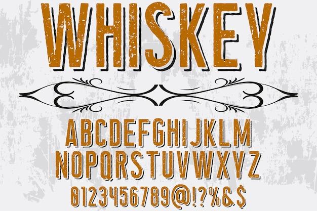 Whisky de conception de polices alphabet effet ombre Vecteur Premium