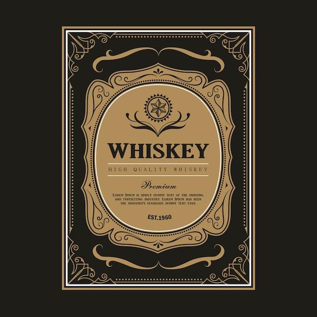 Whisky Vintage Frame Frontière étiquette Rétro Gravure Dessinée à La Main Illustration Vectorielle Antique Vecteur Premium