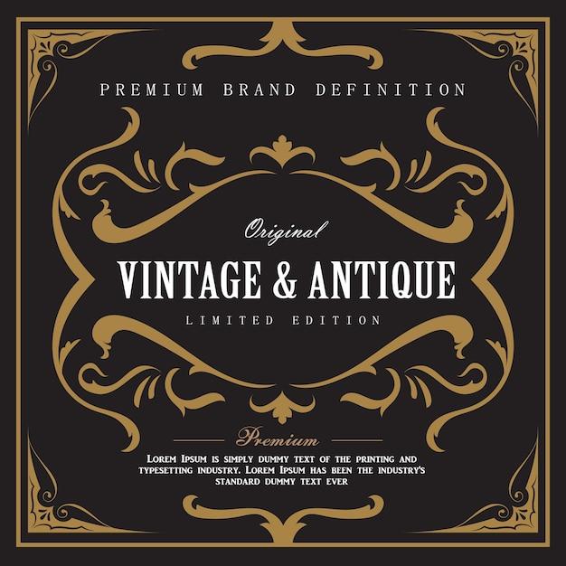 Whisky Vintage Frontière Cadre Antique Gravure étiquette Western Rétro Vecteur Premium