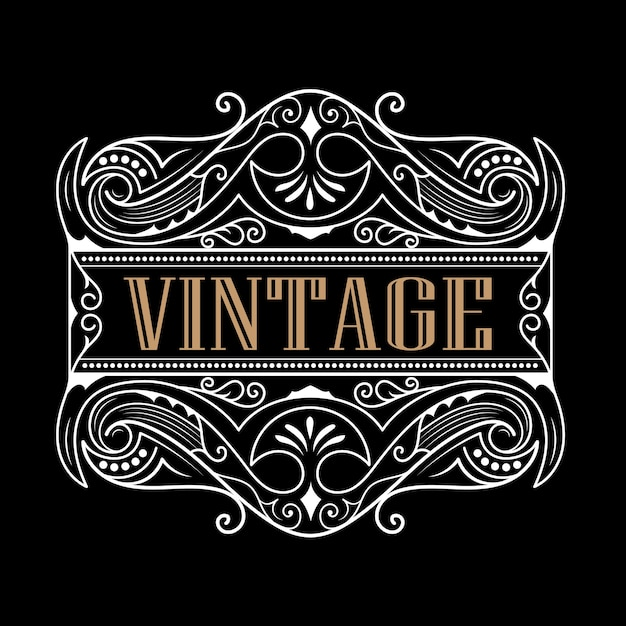 Whisky Western Label Typographie Antique Création De Logo De Cadre Vintage Vecteur Premium