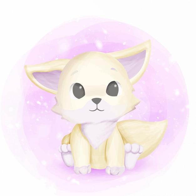 White foxy baby adorable et mignon Vecteur Premium