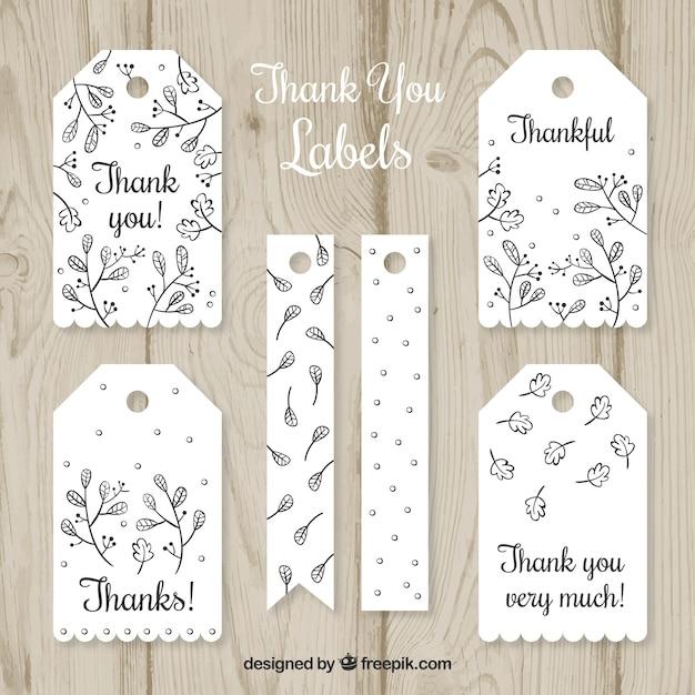 White Thank You Label Collection Vecteur gratuit