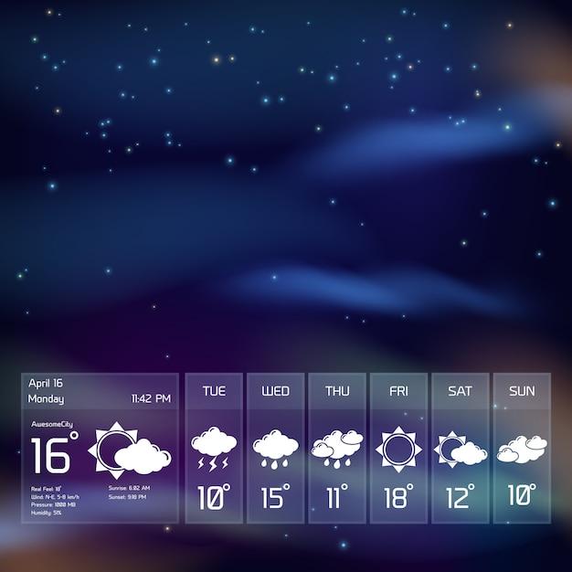 Widget météo transparent Vecteur Premium