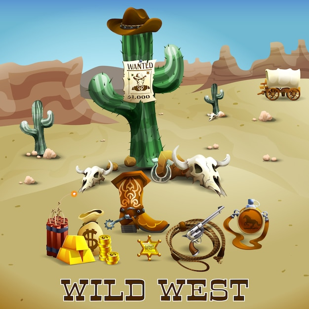 Wild west background illustration Vecteur gratuit