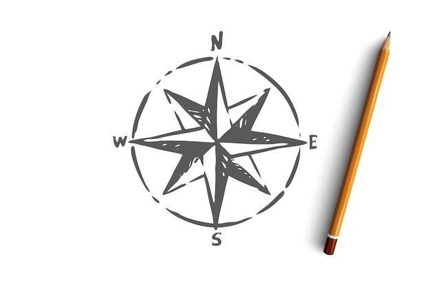 Windrose Navigation Boussole Direction Symbole De Navigation Vecteur Premium