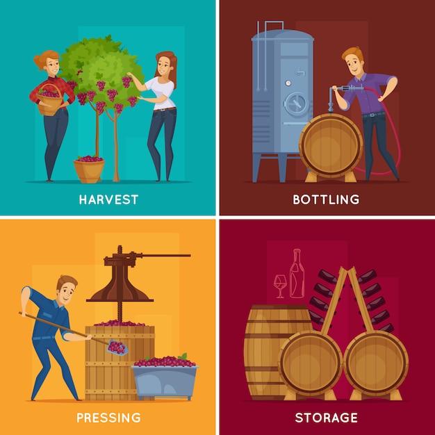 Winery wine production cartoon concept Vecteur gratuit