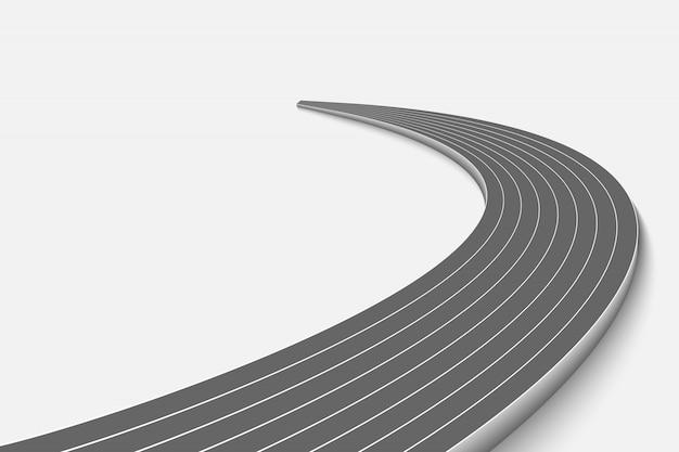 Winnding Curve Road Isolé Vecteur Premium