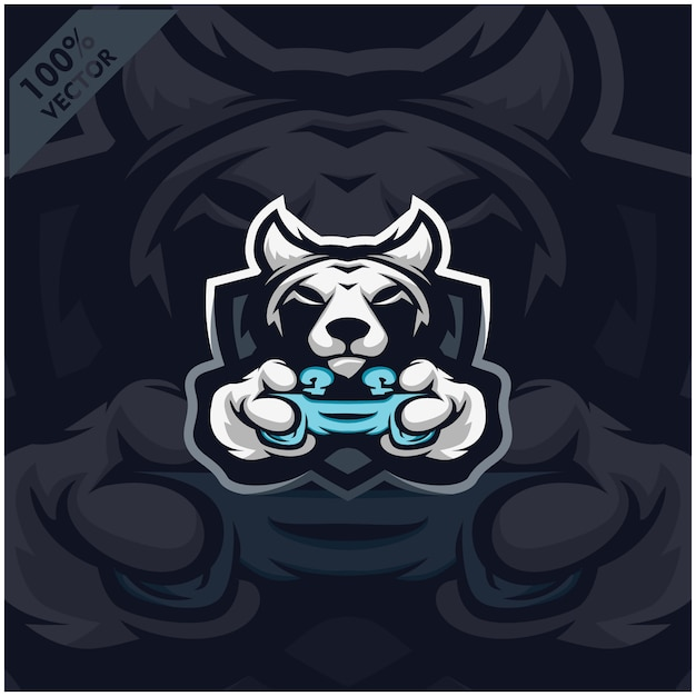 Wolf Gamer Tenant La Console De Jeu Joystick. Création De Logo De Mascotte Pour L'équipe Esport. Vecteur Premium
