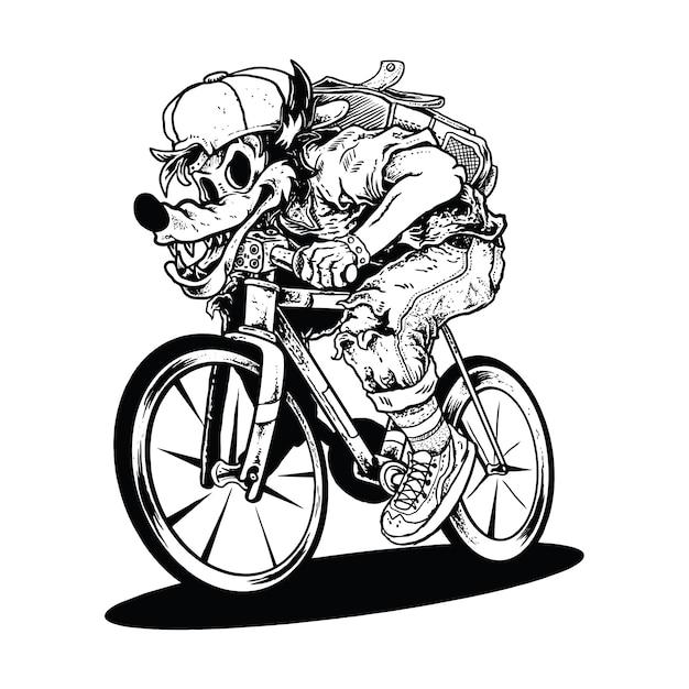 Wolf à vélo, les chasseurs de loups à vélo Vecteur Premium