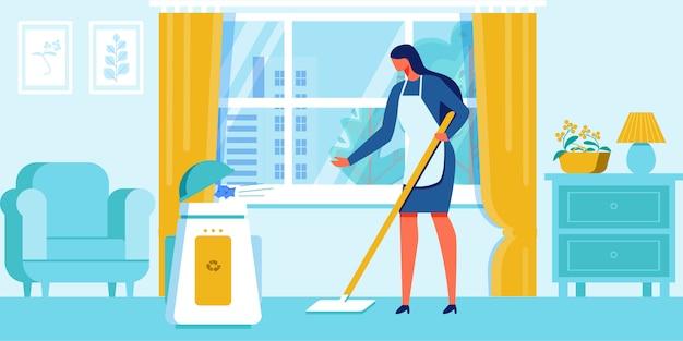 Woman clean home mettez les déchets dans un récipient de recyclage. Vecteur Premium