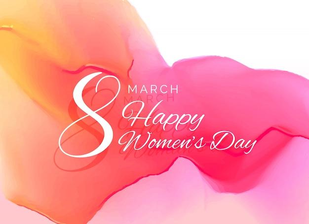 womans célébration de jour de conception de carte de voeux avec effet d'aquarelle Vecteur gratuit