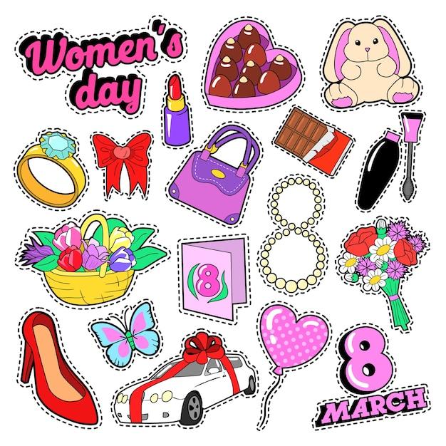 Womens Day 8 Mars éléments Sertis De Fleurs Et De Cosmétiques Pour Autocollants, Badges, Patchs. Doodle De Vecteur Vecteur Premium