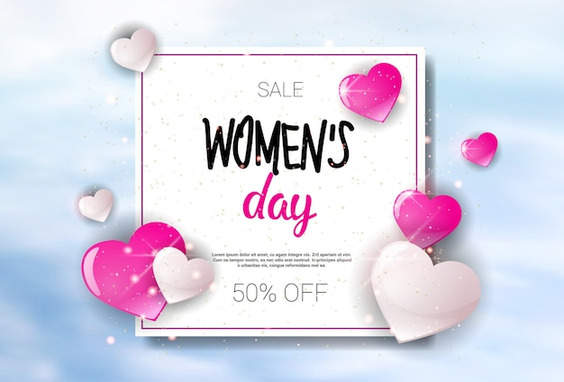 Womens Day Sale Holiday Shopping Promotion Banner Discount Poster Background Vecteur Premium