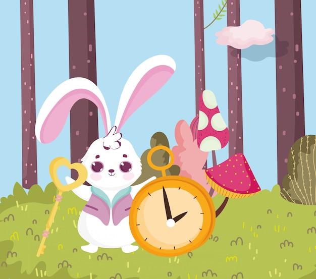 Wonderland, Lapin Avec Clé Et Horloge Forêt Vecteur Premium