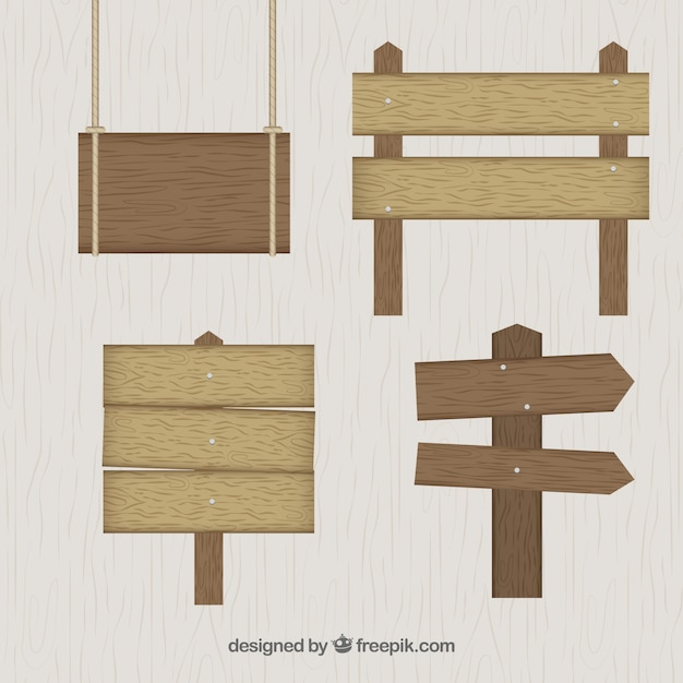 Wooden signs fixés dans la conception plate Vecteur gratuit
