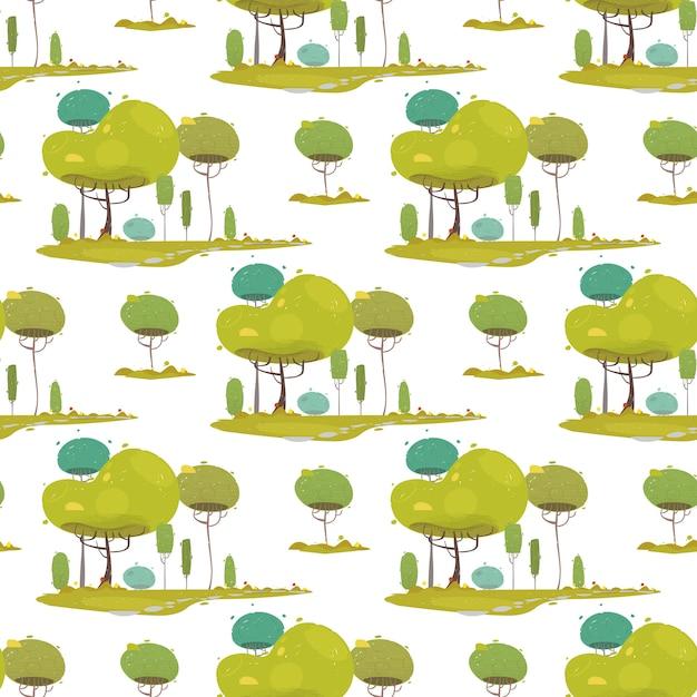 Woodland craft seamless pattern avec des arbres verts Vecteur Premium