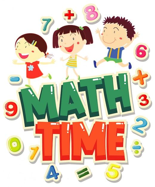 Word For Time 4 Math Avec Des Enfants Heureux Vecteur gratuit
