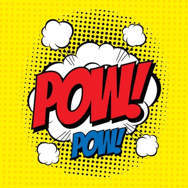 Word pow dans le style bande dessinée avec effet demi-teinte. Vecteur Premium